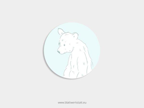 Aufkleber Durchmesser 4 cm rund mit Motiv Eisbaer