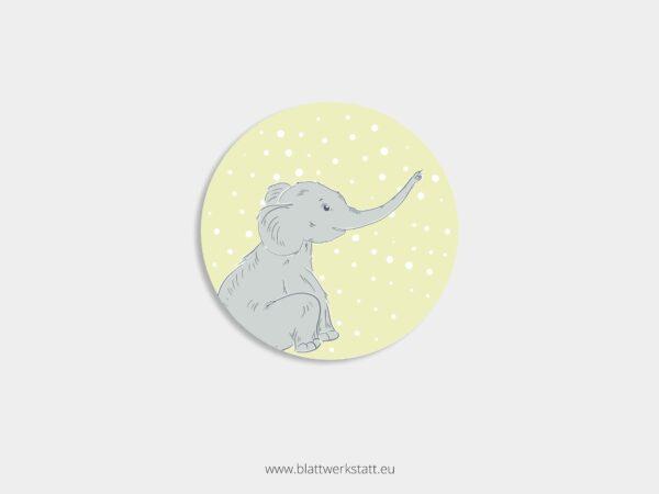 Aufkleber Durchmesser 4 cm rund mit Motiv Elefant