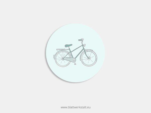 Aufkleber Durchmesser 4 cm rund mit Motiv Fahrrad