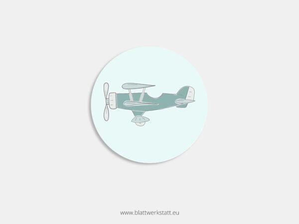 Aufkleber Durchmesser 4 cm rund mit Motiv Flugzeug