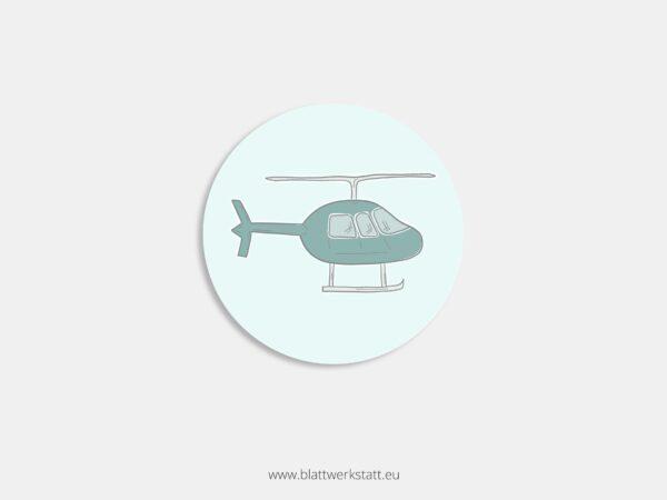 Aufkleber Durchmesser 4 cm rund mit Motiv Hubschrauber