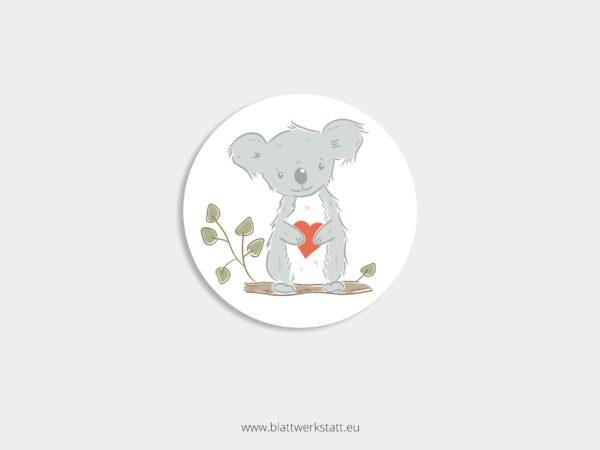 Aufkleber Durchmesser 4 cm rund mit Motiv Koala