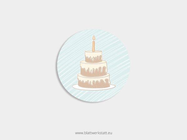 Aufkleber Durchmesser 4 cm rund mit Motiv Torte