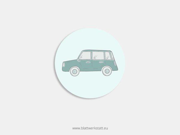Aufkleber Durchmesser 4 cm rund mit Motiv Auto