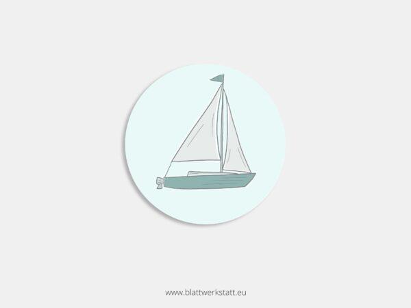 Aufkleber Durchmesser 4 cm rund mit Motiv Segelboot