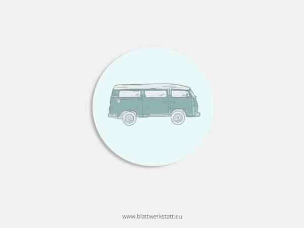 Aufkleber Durchmesser 4 cm rund mit Motiv Bus