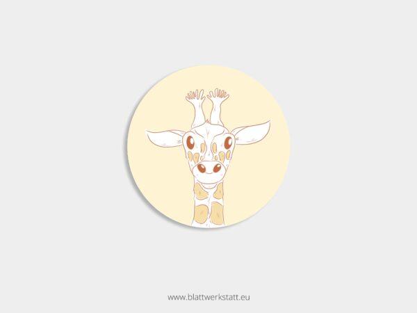 Aufkleber Durchmesser 4 cm rund mit Motiv Giraffe