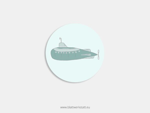Aufkleber Durchmesser 4 cm rund mit Motiv U-Boot