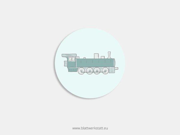 Aufkleber Durchmesser 4 cm rund mit Motiv Zug Dampflok
