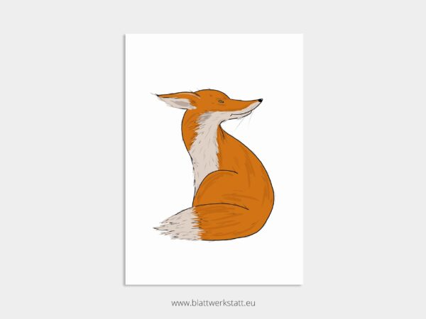 Tierposter A4, Plakat mit Fuchs