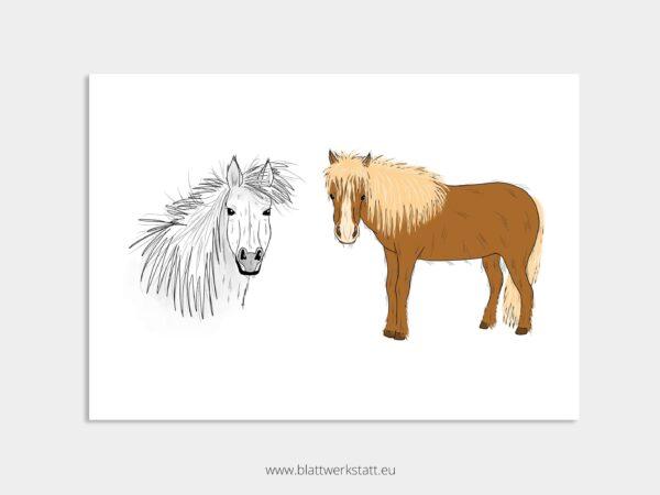 Tierposter A4, Plakat mit Islandpferd