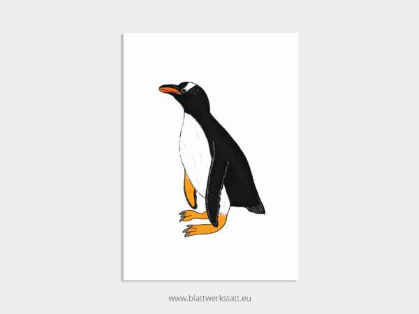 Tierposter A4, Plakat mit Pinguin