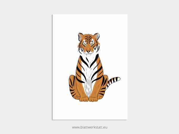Tierposter A4, Plakat mit Tiger