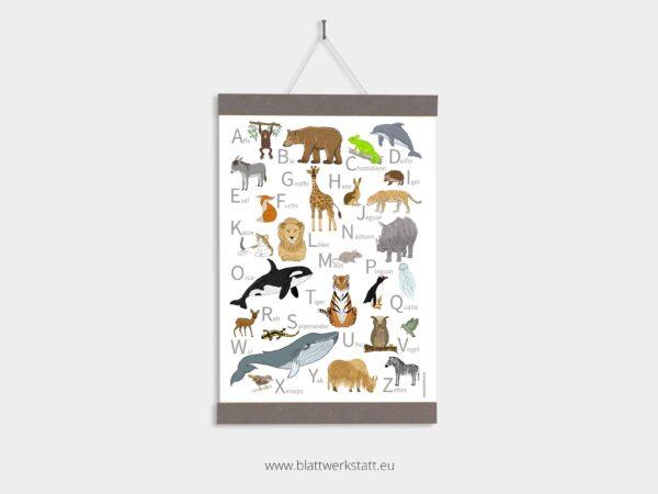 ABC-Tierposter 50x70, Plakat in einer Posterleiste