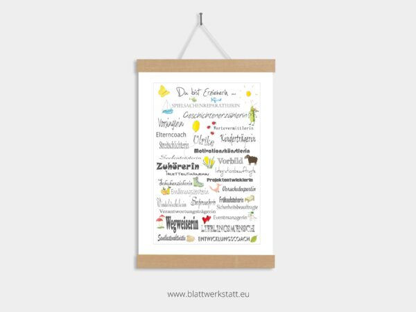 Dankebild Berufe in A4, für Erzieher und Tagesmütter, individuell anpassbar, in Posterleiste