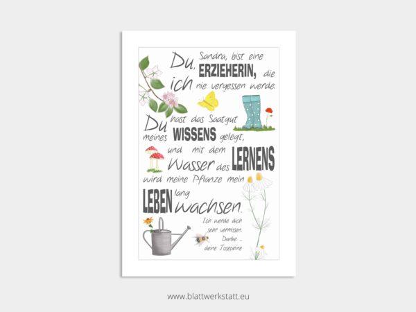 Dankebild Saatgut in A4, für Erzieher und Tagesmütter, individuell anpassbar