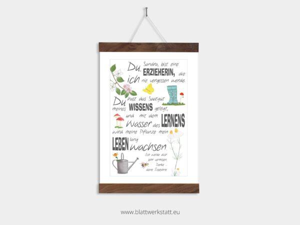 Dankebild Saatgut in A4, für Erzieher und Tagesmütter, individuell anpassbar, in Posterleiste