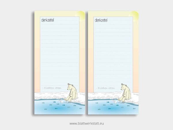 langer Denkzettel Notizblock Doppelpack mit Eisbaer Motiv