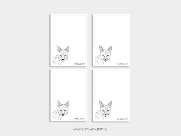 Merkblatt Notizblock A7 Viererpack mit Motiv Fuchs