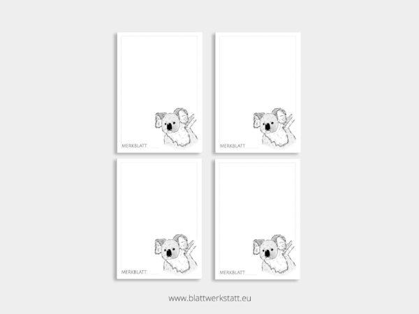 Merkblatt Notizblock A7 Viererpack mit Motiv Koala