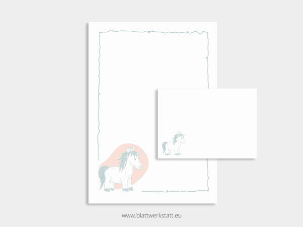 herunterladbares Briefpapier A4 Motiv Einhorn und Briefumschlag