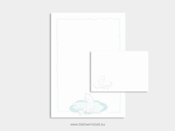 herunterladbares Briefpapier A4 Motiv Eisbaer und Briefumschlag
