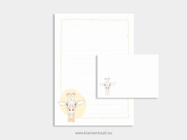 herunterladbares Briefpapier A4 Motiv Giraffe und Briefumschlag