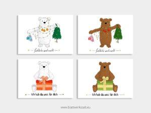 4er Postkarten- Paket Geschenkbären ²