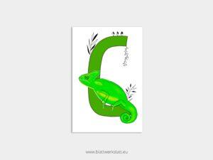 ABC Postkarten C wie Chamäleon ²