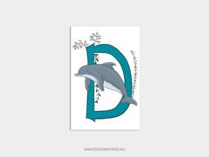 ABC Postkarten D wie Delfin ²