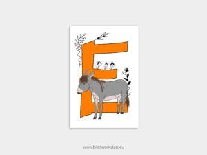 ABC Postkarten E wie Esel ²