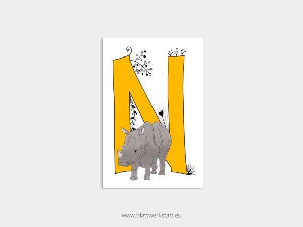 ABC Postkarte Alphabet mit Zeichnung eines gelben Buchstaben N und eines Nashorns