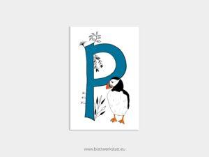 ABC Postkarten P wie Papageientaucher ²
