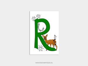 ABC Postkarten R wie Reh ²