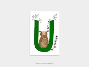 ABC Postkarten U wie Uhu ²