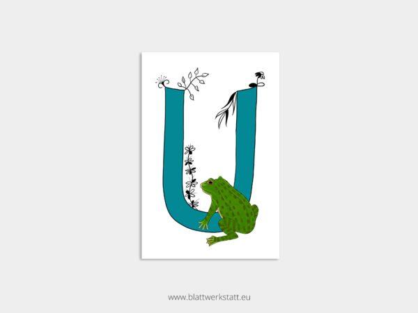 ABC Postkarte Alphabet mit Zeichnung eines blauen Buchstaben U und einer Unke