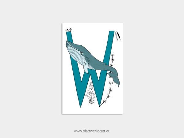 ABC Postkarte Alphabet mit Zeichnung eines blauen Buchstaben W und eines Wals