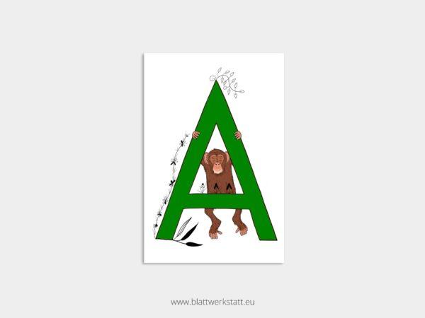 ABC Postkarte Alphabet mit Zeichnung eines gruenen Buchstaben A und eines Affen