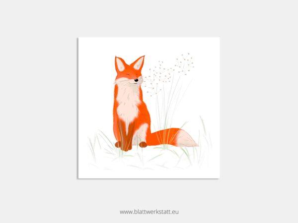 Postkarte Fuchs Wald, Zeichnung, quadratisch