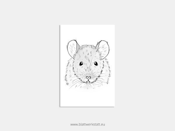 Postkarte schwarzweiß-Zeichnung Maus