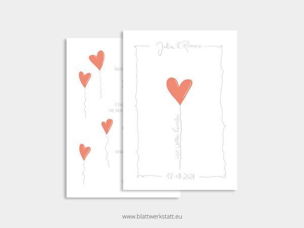 Hochzeitseinladung mit rotem Herz, individuell anpassbar