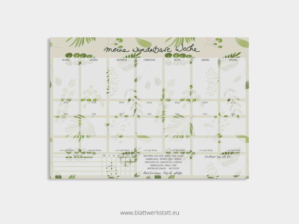 Wochenplan mit grünem Blättermuster im Hintergrund