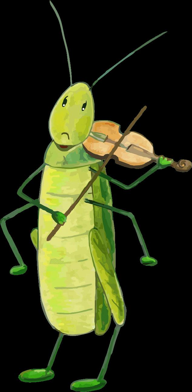 Illustration einen Grashüpfers der Geige spielt aus Cannas Geschichten