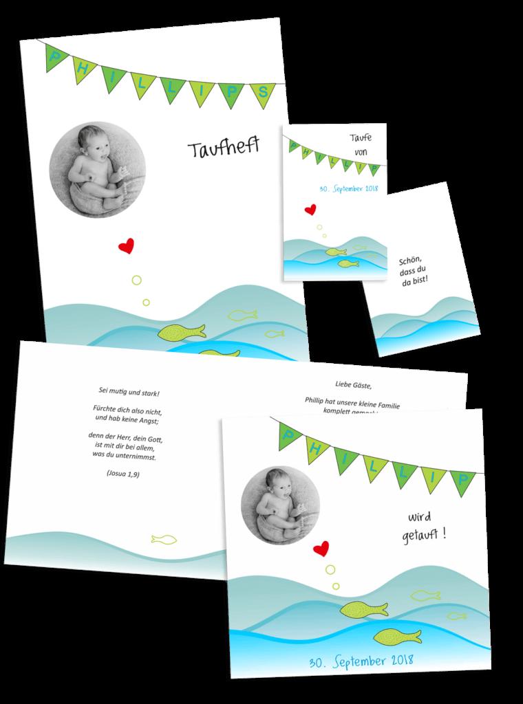 Taufeinladung mit Taufheft und Platzkaertchen, Kundenprojekt