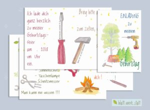 "pdf-Datei ""DIY Camp – Kindergeburtstag Einladung"" ²"