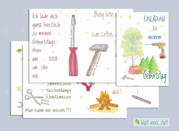 herunterladbare Einladung zum Kindergeburtstag, individuell anpassbar mit Daten und Texten, Thema DIY Camp