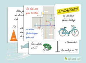 """pdf-Datei """"Fahrrad – Kindergeburtstag Einladung"""" ²"""