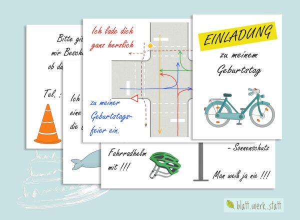 herunterladbare Einladung zum Kindergeburtstag, individuell anpassbar mit Daten und Texten, Thema Fahrrad