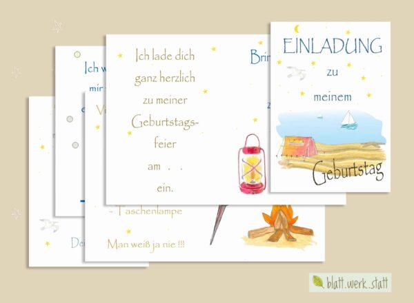 herunterladbare Einladung zum Kindergeburtstag, individuell anpassbar mit Daten und Texten, Thema Zelten am Strand