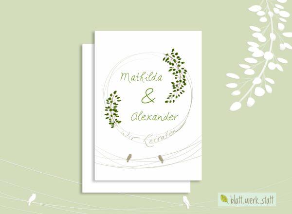 Hochzeitseinladung mit Zweigen und Vögeln